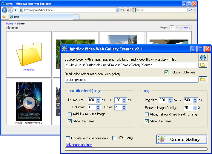 LightBox Video Web Gallery Creator